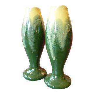 Green & Yellow Glazed Belgian Pottery Vases- Pair