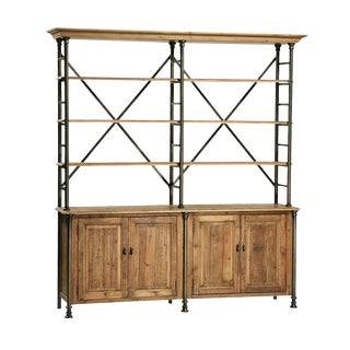 Reclaimed Wood & Iron Bookcase Hutch