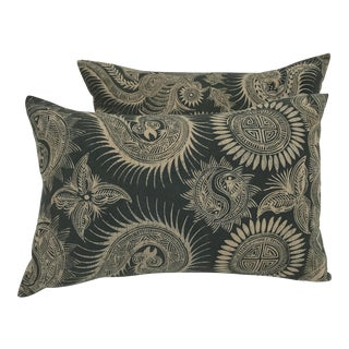 Asian Serpent Gray Batik Pillows - A Pair
