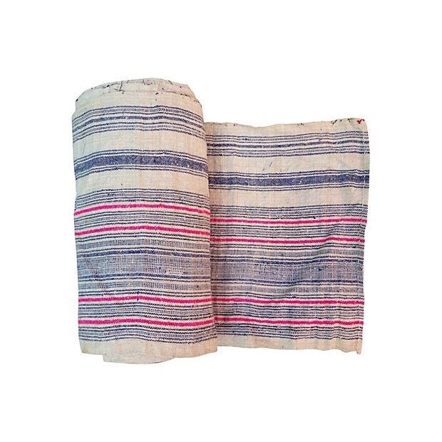 Handwoven Striped Linen Fabric - 10.6 Yards - Image 1 of 5