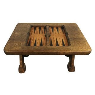 Vintage Carved Wood Backgammon Table