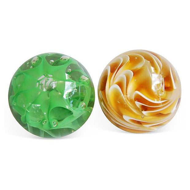 Image of Vintage 1960s Abstract Glass Paperweights - A Pair