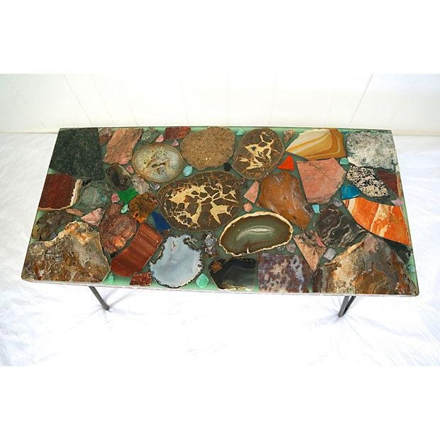 Image of Geode Slice Table with Hair Pin Legs