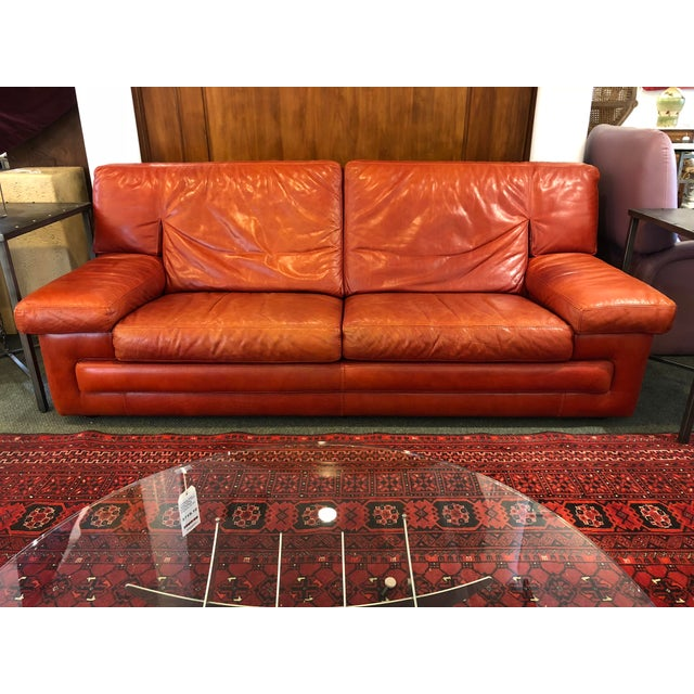 Roche Bobois Vintage Red Leather Sofa - Image 8 of 10