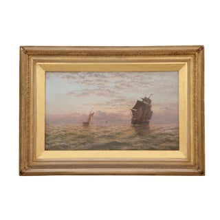 19th Century Vintage Thomas Lucop Boat Painting