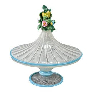 Circa 1930 Venetian Art Glass Latticino Lidded Candy Dish With Floral Finial