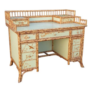Unique Vintage Chinoiserie Light Green Floral Design Bamboo Writing Desk