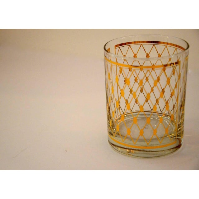 "Set of Four Georges Briard ""Harlequin"" Pattern Double Old Fashioned Glasses - Image 3 of 4"