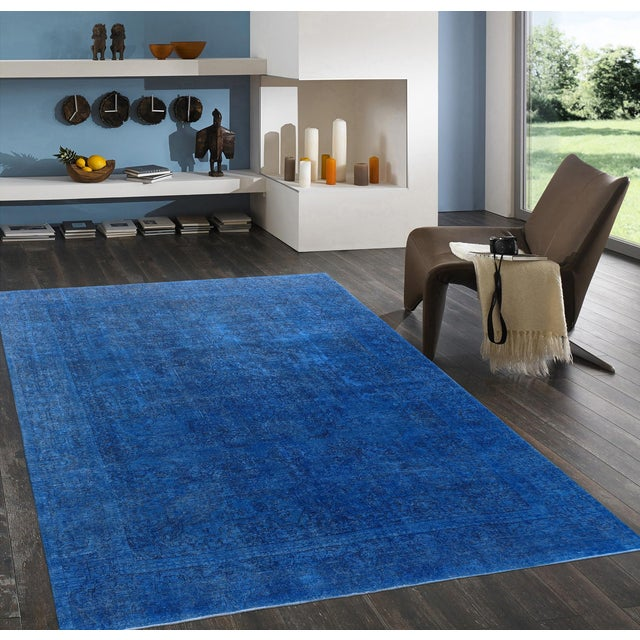"Blue Vintage Overdyed Rug - 9' 5"" X 11' 5"" - Image 3 of 3"