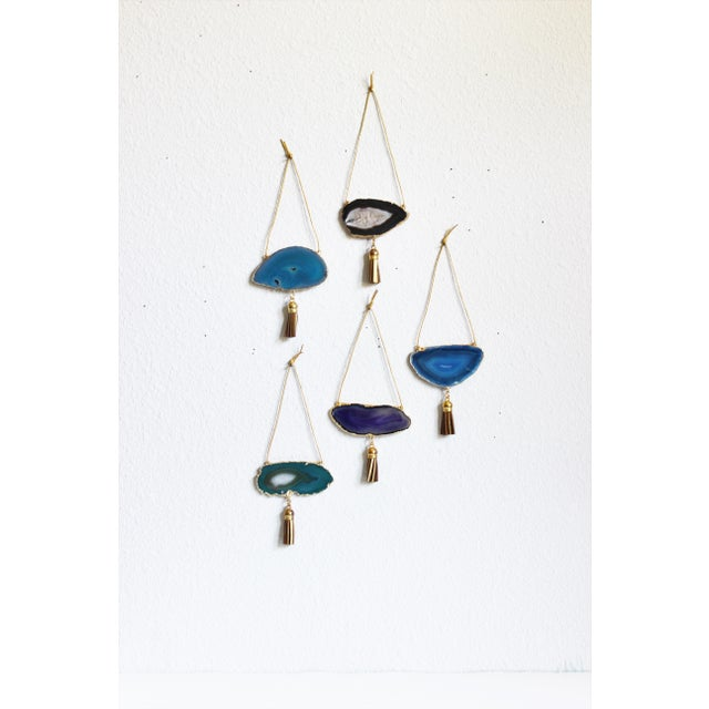 Set of 5 Gold Plated Assorted Agate Ornaments - Image 2 of 9