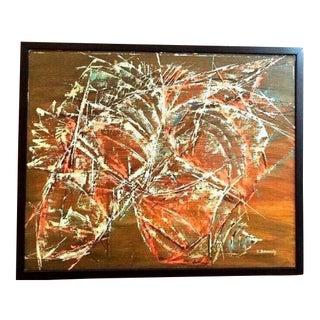 1961 Bukowski Mid-Century Abstract Oil Painting