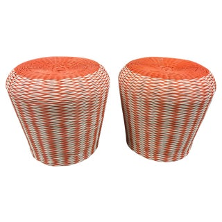 Plastic Orange & White Patio Ottoman - Pair