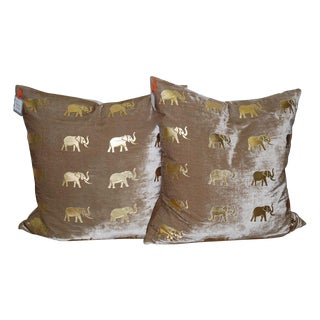 Meru Elephant Velvet Pillows - A Pair