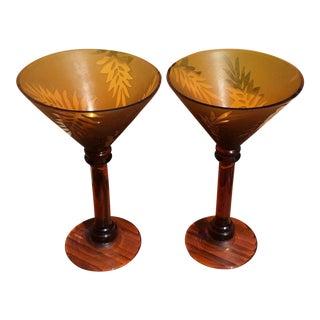 Vintage Amber Wine Glasses - A Pair