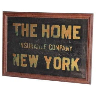 "1900's Reverse Glass Sign ""The Home Insurance Company New York"""