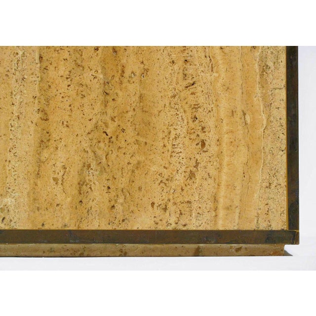 Travertine & Brass Cube Table - Image 4 of 4