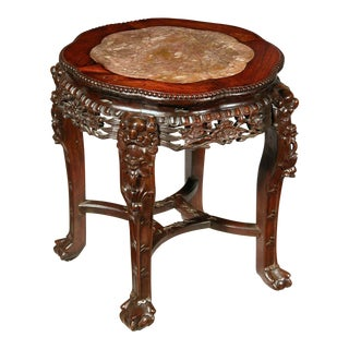Export Chinese Side Table with Inset Marble Top