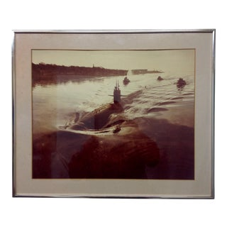 Vintage US Submarine Sepia Toned Photograph