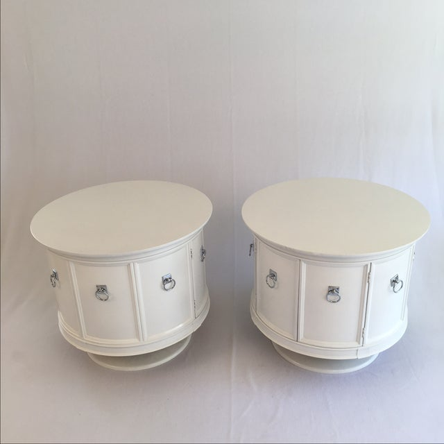 Mid-Century White Drum Shaped Side Tables - Pair - Image 3 of 4