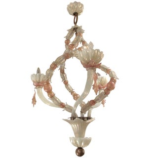 Two Toned Pink & White Venini Glass Chandelier