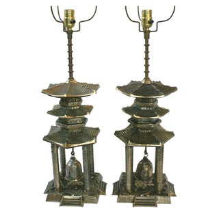 Vintage Brass Pagoda Lamps - A Pair