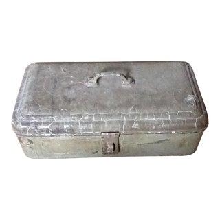 Antique Primitive Rustic Metal Toolbox & Tools