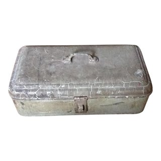 Antique Primitive Rustic Metal Toolbox & Tools