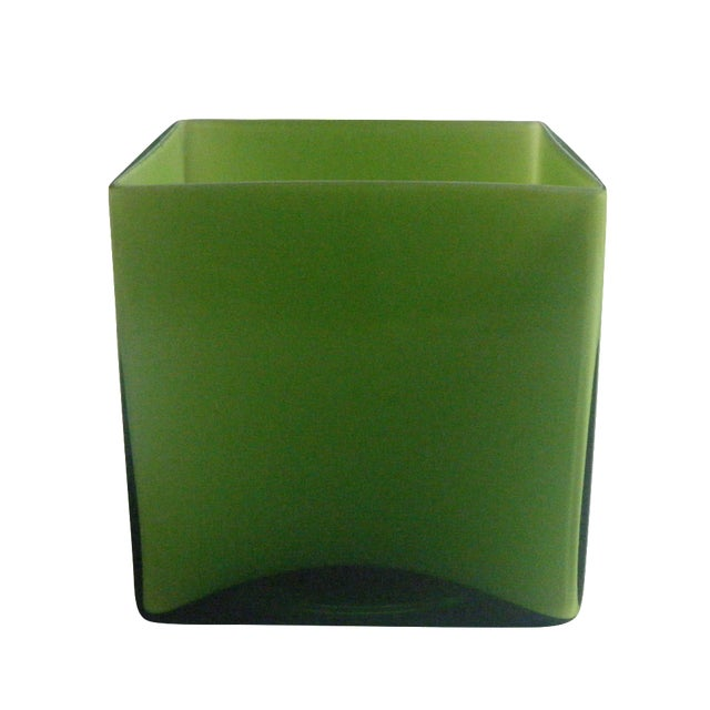 Modern Style Two-Toned Green Square Glass Vase - Image 1 of 4