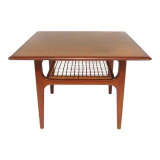 Danish Modern Teak Occasional Table With Cane Shelf