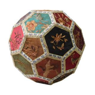 Chinese Hexagon Embroidered Textile Sphere