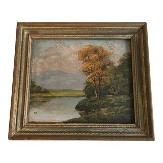Vintage Landscape Riverside Oil Painting