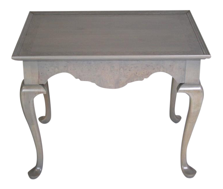 Grey Stained Queen Anne Style Side Tables   A Pair