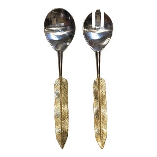 Feather Handle Serving Set - a Pair