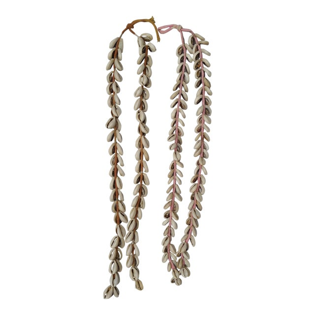 Image of Indian Vintage Cowrie Shell Cotton Tassels- A Pair