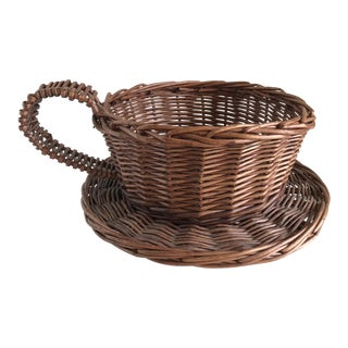 Coffee Cup Shaped Woven Wood Basket