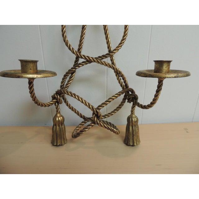 Image of Vintage Hollywood Regency Gold Candle Sconce