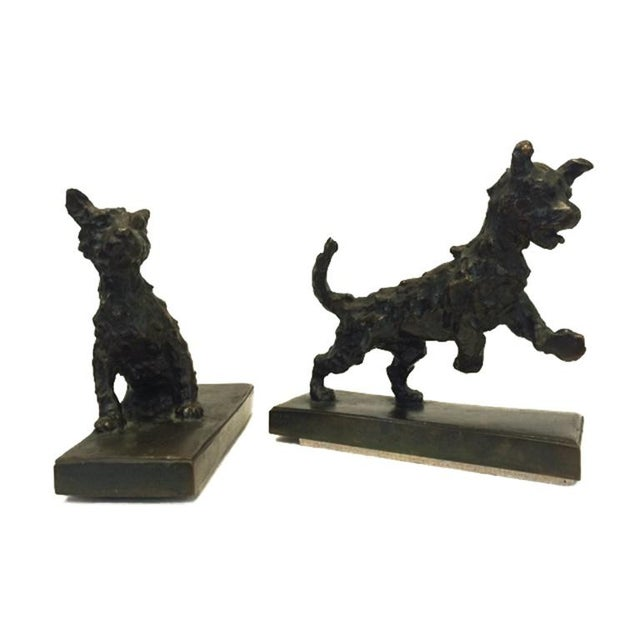 Bronze Terrier Dog Bookends - A Pair - Image 3 of 6