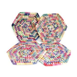 Vintage Woven Candy Colored Placemats - Set of 4