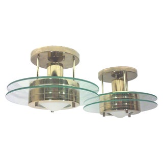 Sciolari-Style Brass Stepped Ceiling Lights - Pair