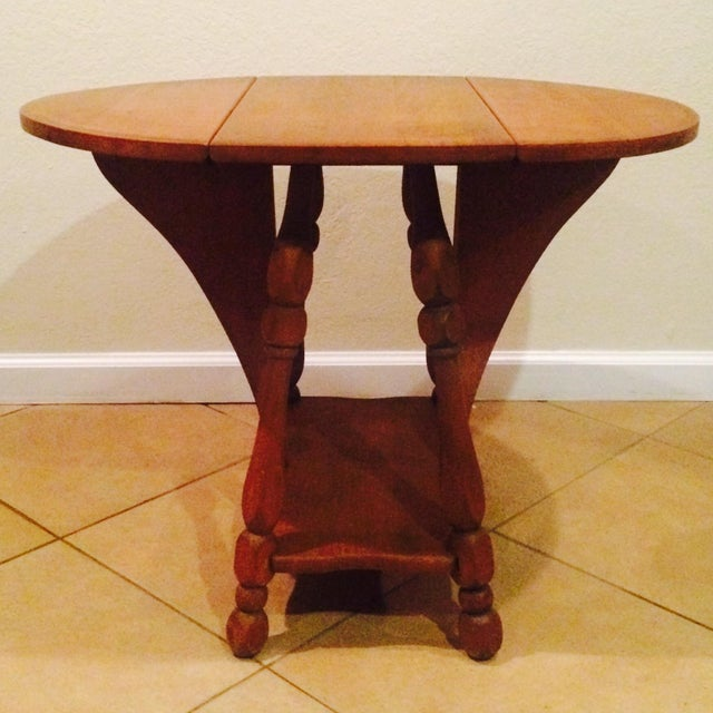 Antique Gate Leg Side Table - Image 2 of 8