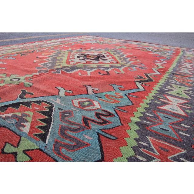 Turkish Oushak Tribal Handmade Flatwoven Kilim Rug 6 8
