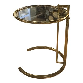 Mid-Century Brass Crescent Moon Base Side Table