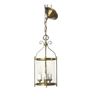 Early 20th Cenutury Small Brass and Glass Lantern