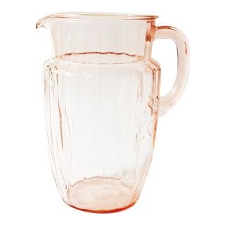 Vintage Blush Pink Glass Pitcher