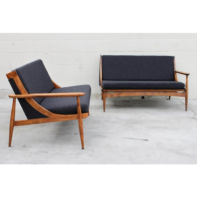 Walnut Danish Minimalist Spindle Back Sectional Sofa - Image 8 of 11