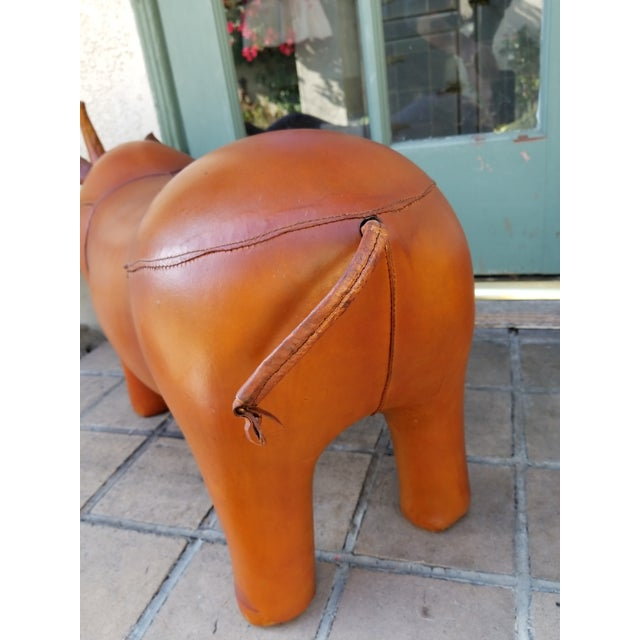 Small Leather Animal Rhino Footstool - Image 4 of 5