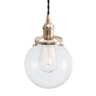 Glass Globe Pendant Light - Raw Brass W/ Black Cord