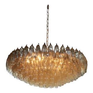 Very Huge Amber Polyhedral Murano Glass Chandelier in the Manner of Venini