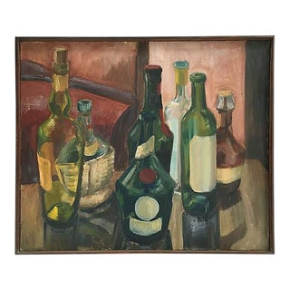 Vintage 1970s French Wine Bottles Still Life Oil Painting