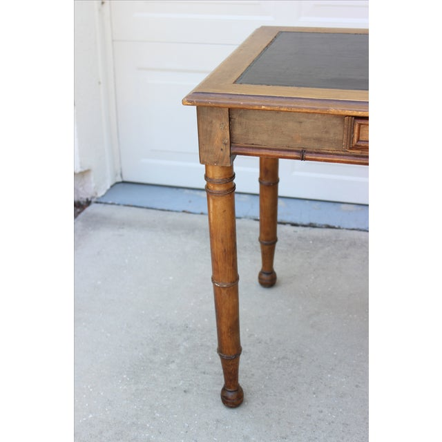 Faux Bamboo Desk with Leather Inlay - Image 5 of 11